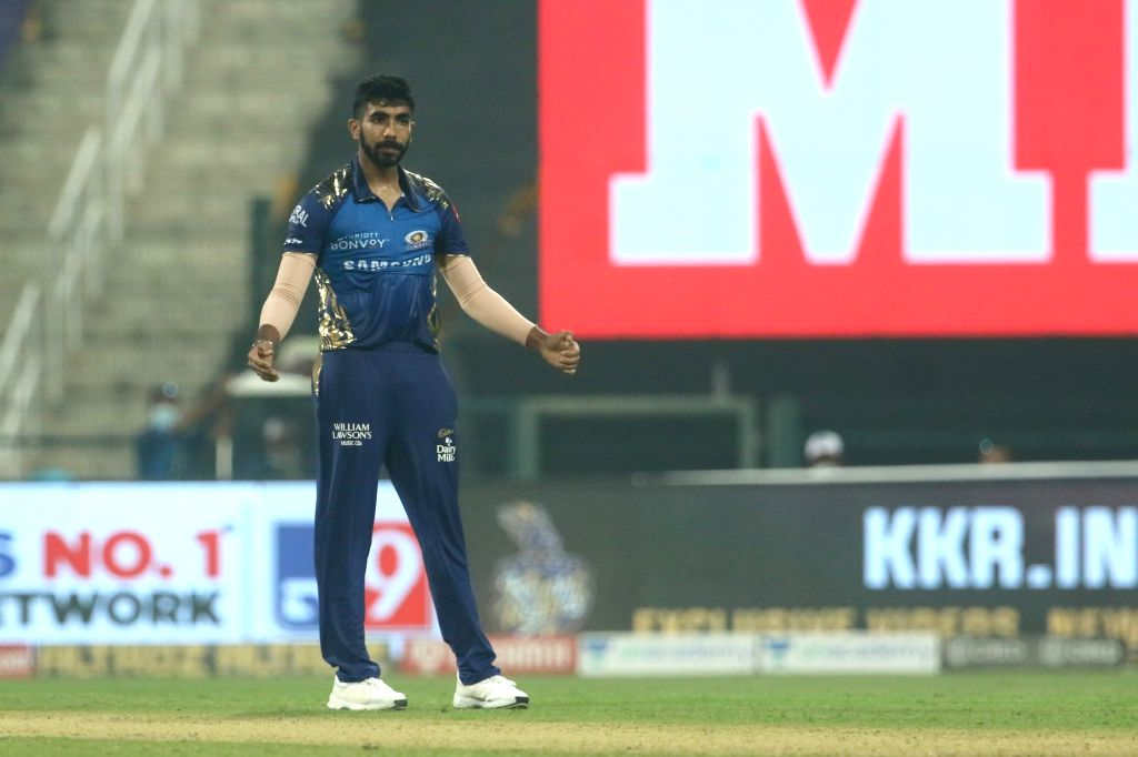 Abu Dhabi: Jasprit Bumrah of Mumbai Indians celebrates the wicket of Andre Russell of Kolkata Knight Riders during match 5 of season 13 of the Dream 11 Indian Premier League (IPL) between the Kolkata ...