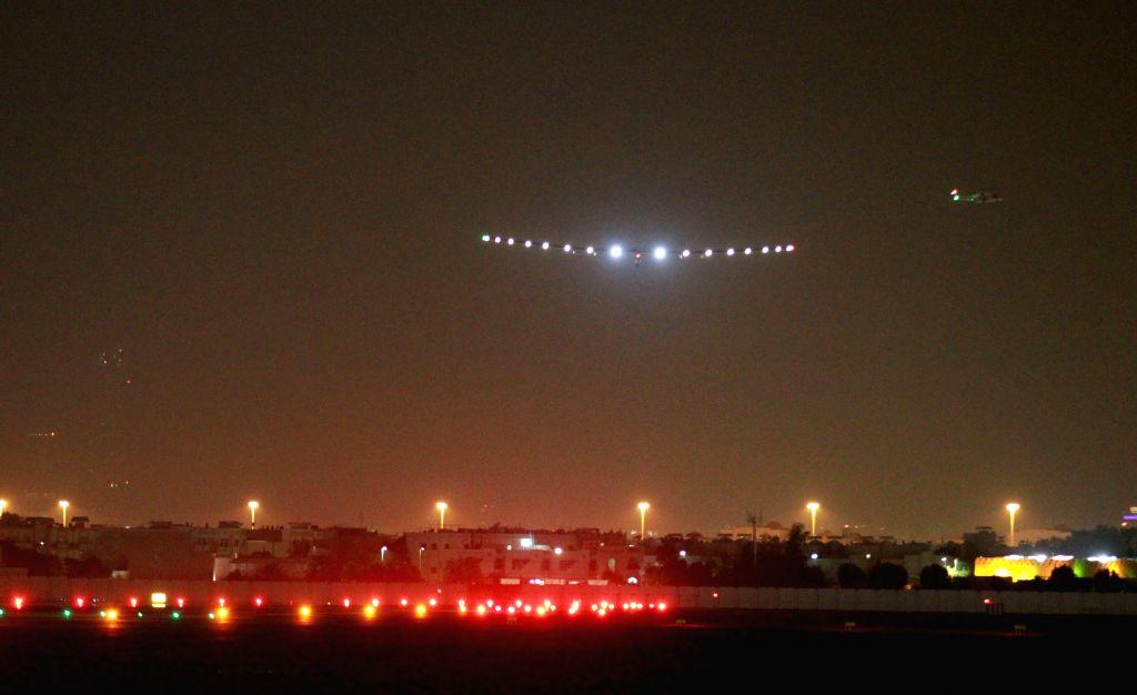 ABU DHABI, July 26, 2016 - Solar Impulse 2 (SI2) arrives at Al Bateen Executive Airport in Abu Dhabi, the United Arab Emirates (UAE), on July 26, 2016. The fully-solar energy powered plane arrived in ...