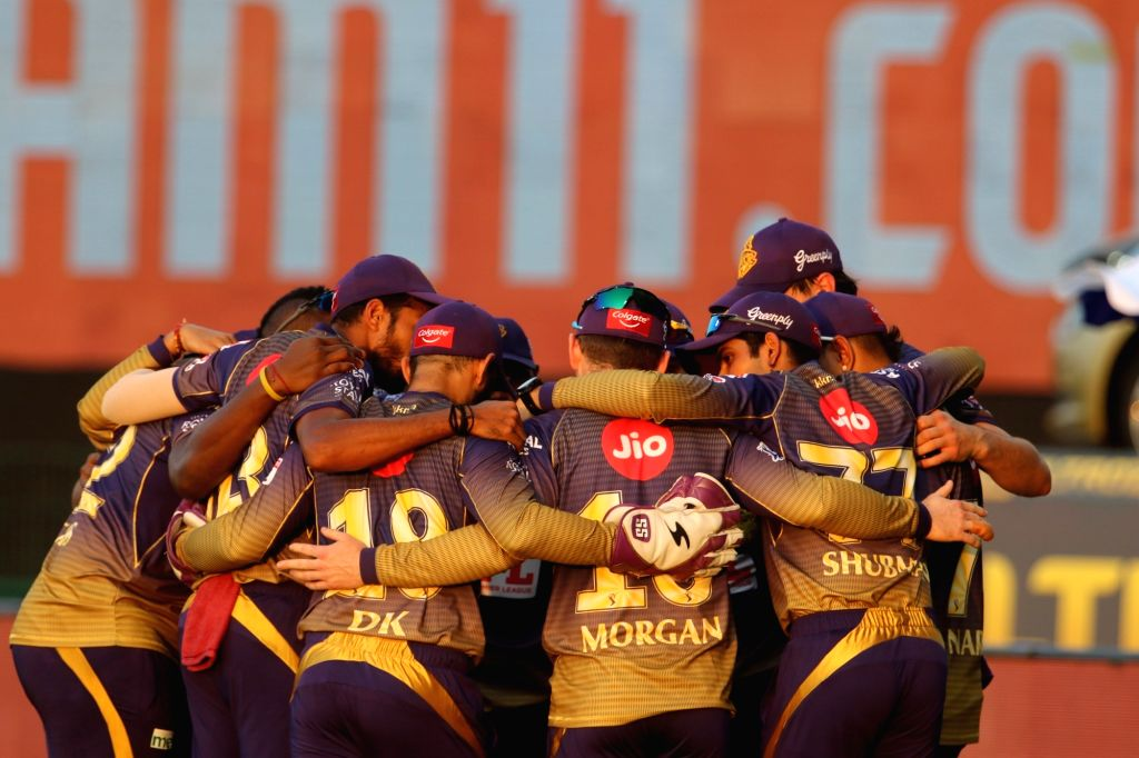 Abu Dhabi: Kolkata Knight Riders make a huddle before the start of the match 5 of season 13 of the Dream 11 Indian Premier League (IPL) between the Kolkata Knight Riders and the Mumbai Indians held ...