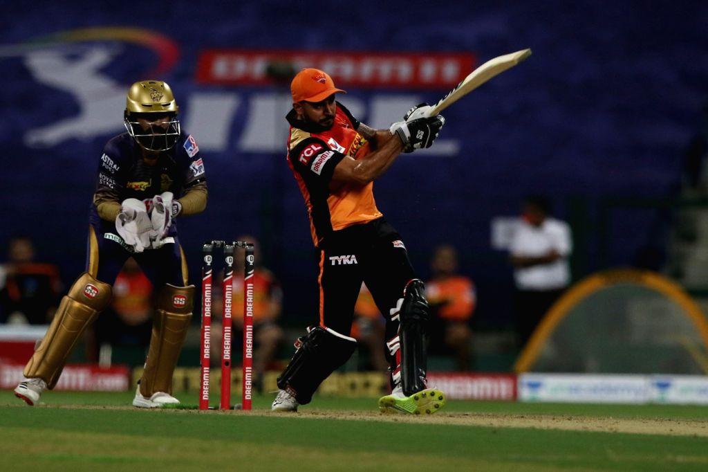 Abu Dhabi: Manish Pandey of Sunrisers Hyderabad plays a shot during match 8 of season 13 of Indian Premier League (Photo: BCCI/IPL) - Manish Pandey