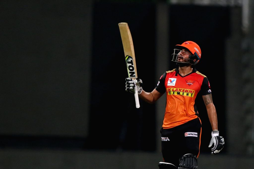 Abu Dhabi: Manish Pandey of Sunrisers Hyderabad raises his bat after scoring a fifty during match 8 of season 13 of Indian Premier League (IPL) between the Kolkata Knight Riders and the Sunrisers Hyderabad held at the Sheikh Zayed Stadium, Abu Dhabi  - Manish Pandey