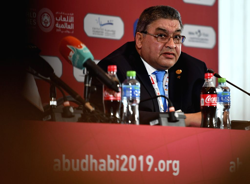 ABU DHABI, March 14, 2019 - Ayman Abdel Wahab, regional president of the Special Olympics Middle East and North Africa, gives a speech during the opening press conference of the 2019 Abu Dhabi ...