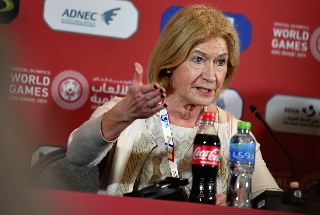 ABU DHABI, March 14, 2019 - Mary Davis, CEO of the Special Olympics International, gives a speech during the opening press conference of the 2019 Abu Dhabi Special Olympics World Games in Abu Dhabi, ...