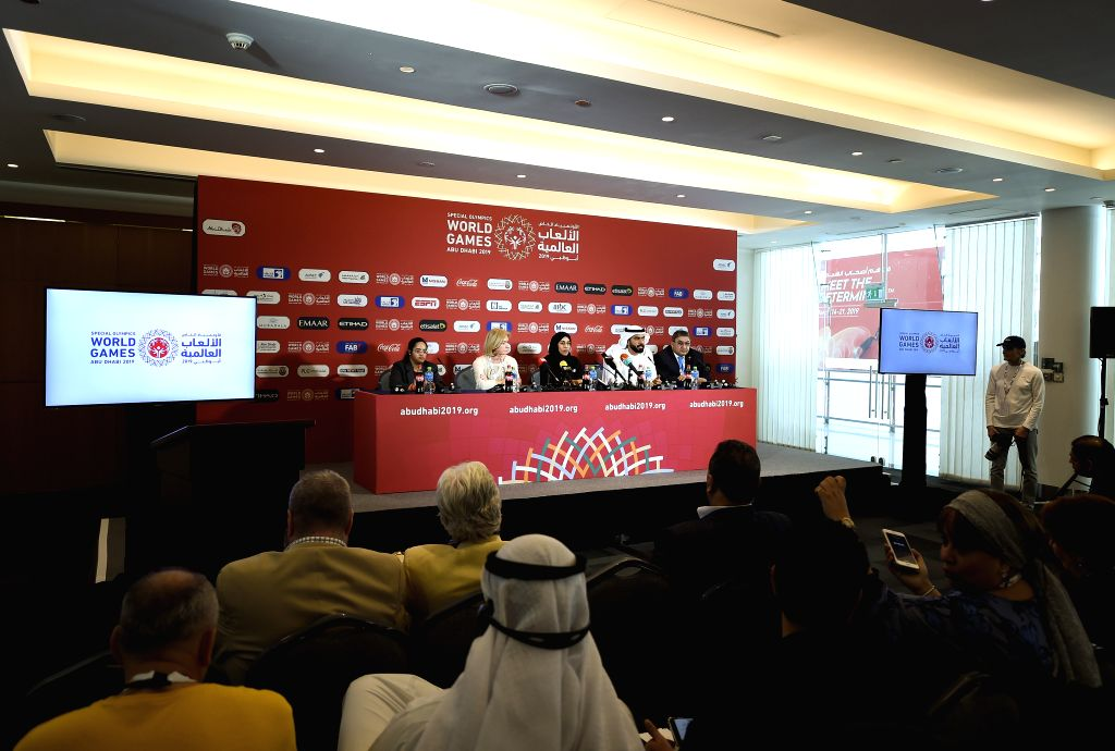 ABU DHABI, March 14, 2019 - The 2019 Abu Dhabi Special Olympics World Games holds the opening press conference in Abu Dhabi, the United Arab Emirates (UAE), March 13, 2019.