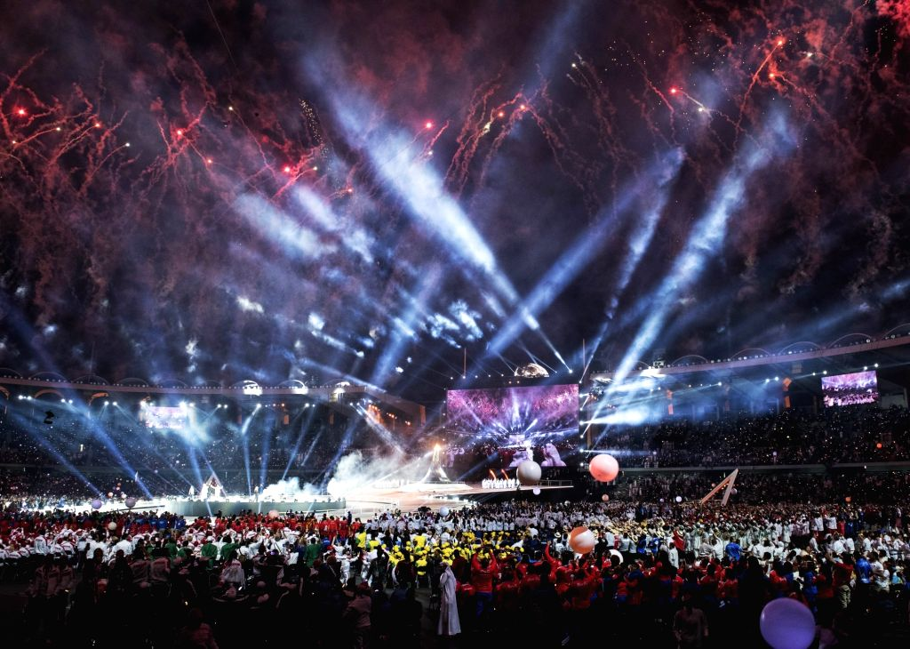 ABU DHABI, March 15, 2019 - Photo taken on March 14, 2019 shows a general view of the opening ceremony of the 2019 Abu Dhabi Special Olympics World Games in Abu Dhabi, the United Arab Emirates, on ...