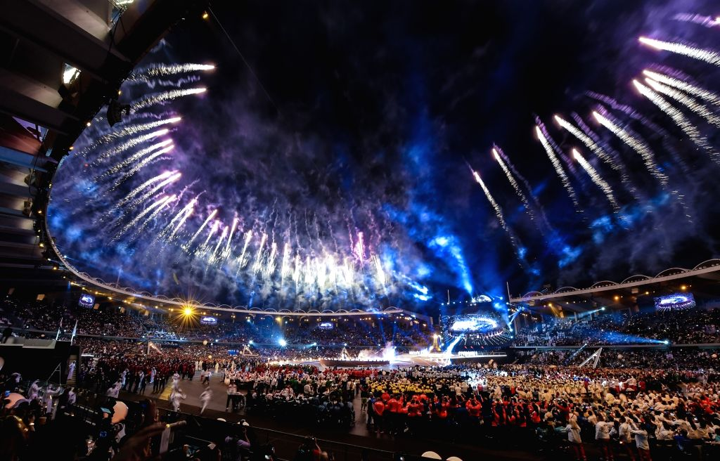 ABU DHABI, March 15, 2019 - Photo taken on March 14, 2019 shows fireworks during the opening ceremony of the 2019 Abu Dhabi Special Olympics World Games in Abu Dhabi, the United Arab Emirates, on ...