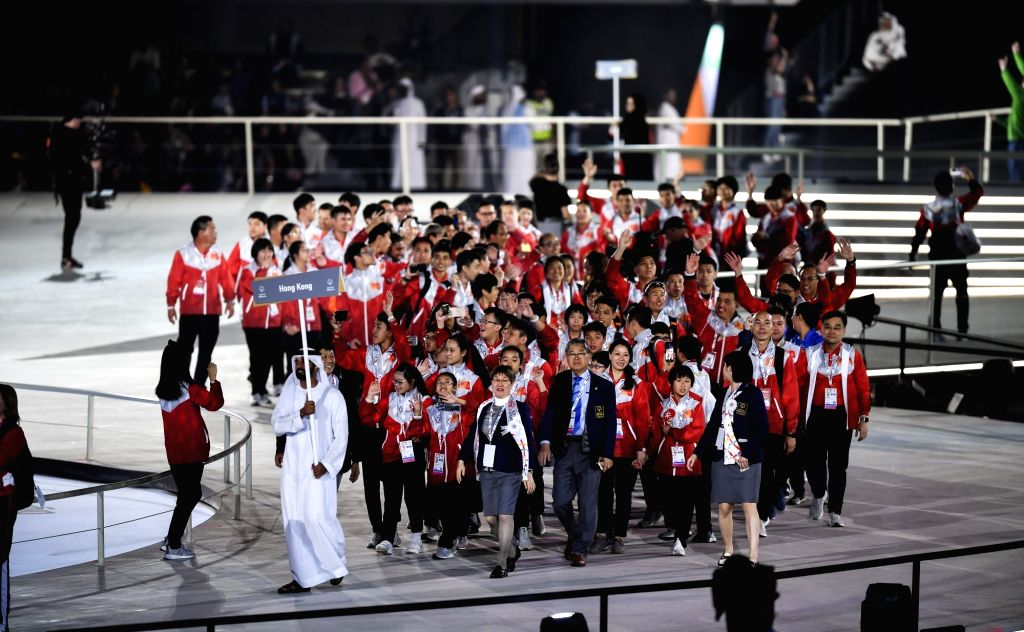 ABU DHABI, March 15, 2019 - The delegation of Hong Kong of China marches during the opening ceremony of the 2019 Abu Dhabi Special Olympics World Games in Abu Dhabi, the United Arab Emirates, on ...