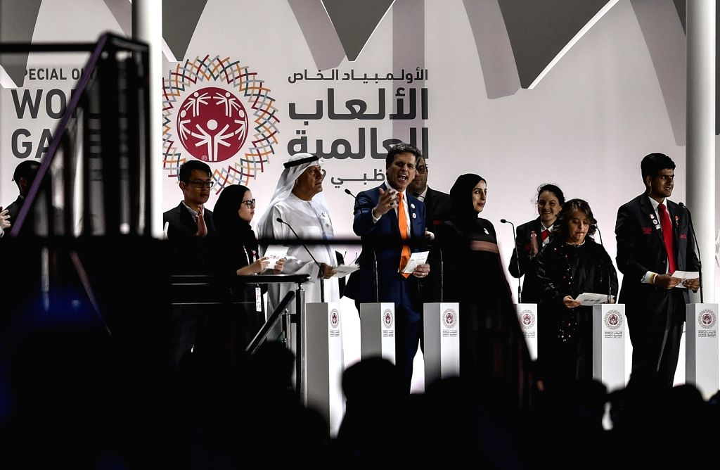 ABU DHABI, March 15, 2019 - Timothy Shriver (C), chairman of the Special Olympics, delivers a speech during the opening ceremony of the 2019 Abu Dhabi Special Olympics World Games in Abu Dhabi, the ...