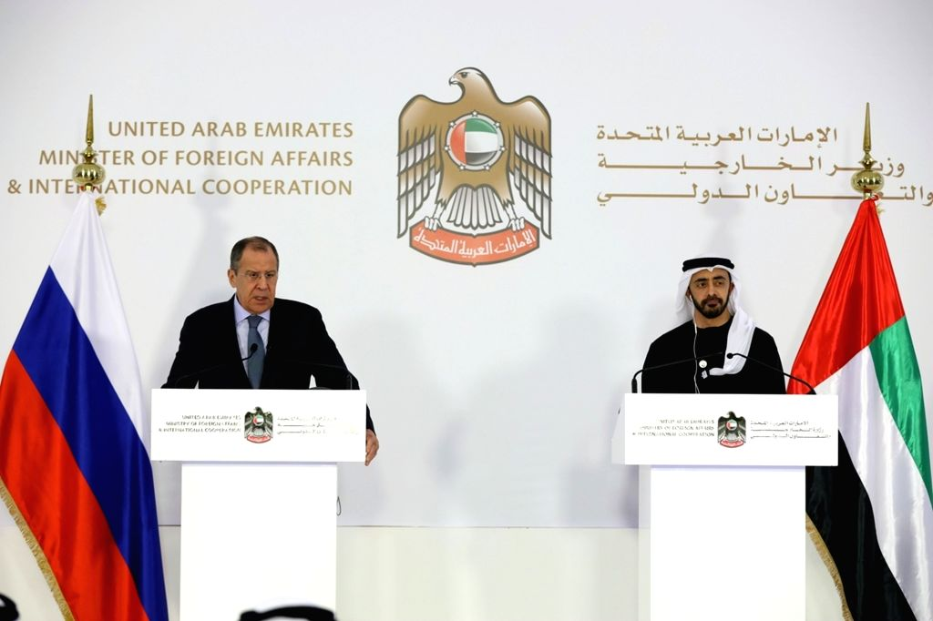 ABU DHABI, March 7, 2019 - Russian Foreign Minister Sergei Lavrov (L) and United Arab Emirates Minister of Foreign Affairs and International Cooperation Sheikh Abdullah bin Zayed bin Sultan Al Nahyan ... - Sergei Lavrov and Cooperation Sheikh Abdullah