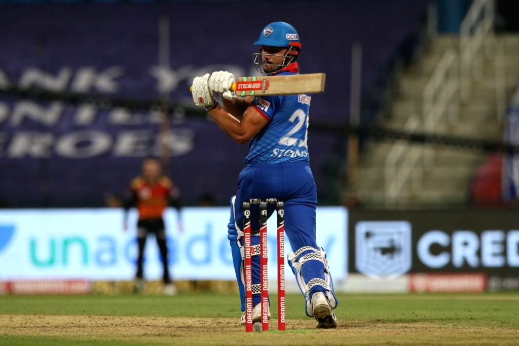 Abu Dhabi: Marcus Stoinis of Delhi Capitals plays a shot during match 11 of season 13 of Indian Premier League (IPL) between the Delhi Capitals and the Sunrisers Hyderabad held at the Sheikh Zayed Stadium, Abu Dhabi in the United Arab Emirates on the