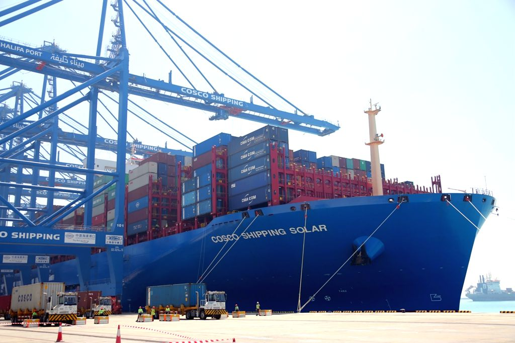 ABU DHABI, May 25, 2019 (Xinhua) -- Chinese container ship SOLAR is seen at CSP Abu Dhabi Terminal of Khalifa Port in Abu Dhabi, the United Arab Emirates, on May 25, 2019. SOLAR, a Chinese container ship with a capacity of 21,000 TEU (twenty-foot equ