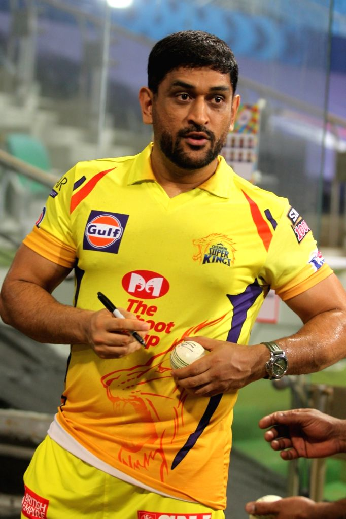 Abu Dhabi: MS Dhoni of the Chennai Super kings after the  match 1 of season 13 of the Dream 11 Indian Premier League (IPL) between the Mumbai Indians and the Chennai Superkings held at the Sheikh ... - MS Dhoni