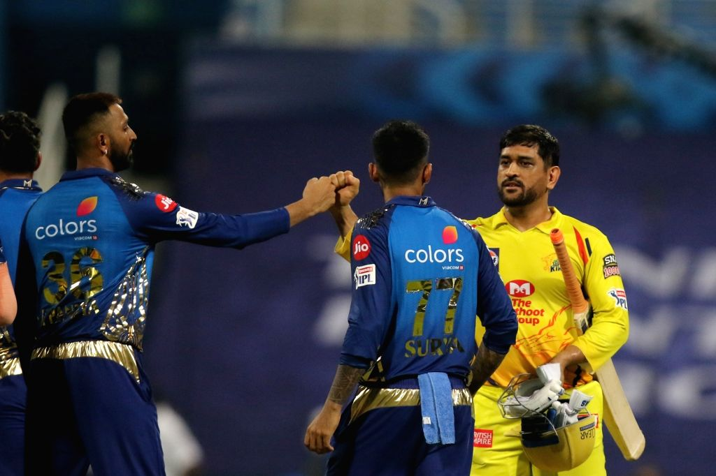 Abu Dhabi: MS Dhoni of the Chennai Superkings celebrates the victory during match 1 of season 13 of the Dream 11 Indian Premier League (IPL) between the Mumbai Indians and the Chennai Superkings held ... - MS Dhoni