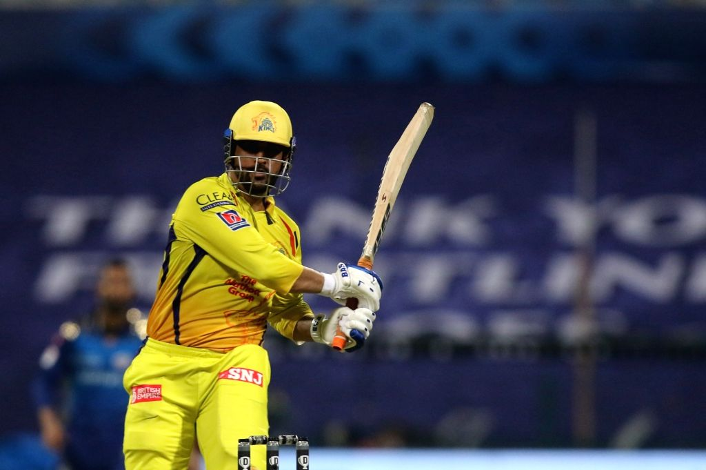 Abu Dhabi: MS Dhoni of the Chennai Superkings  plays a shot during match 1 of season 13 of the Dream 11 Indian Premier League (IPL) between the Mumbai Indians and the Chennai Superkings held at the ... - MS Dhoni