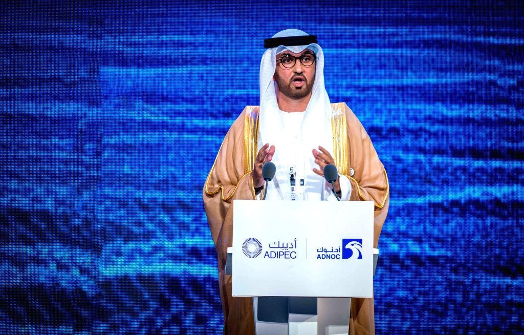 ABU DHABI, Nov. 12, 2019 - United Arab Emirates (UAE) Minister of State and Group CEO of the Abu Dhabi National Oil Company (ADNOC) Sultan Ahmed Al Jaber addresses the opening ceremony of the Abu ...