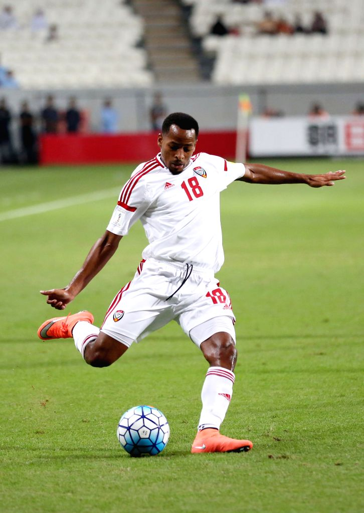 ABU DHABI, Oct. 7, 2016 - UAE's Mohamed Fawzi competes during the World Cup 2018 football qualification match between United Arab Emirates and Thailand at the Mohammed Bin Zayed Stadium in Abu Dhabi ...