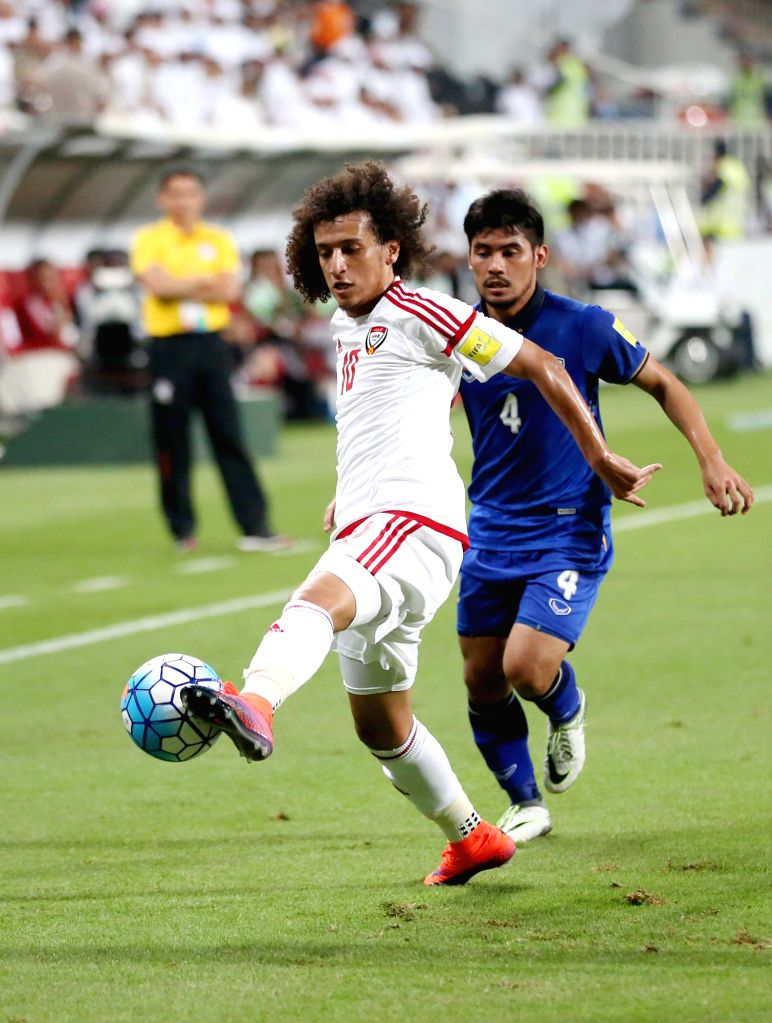 ABU DHABI, Oct. 7, 2016 - UAE's Omar Abdulrahman (front) competes during the World Cup 2018 football qualification match between United Arab Emirates and Thailand at the Mohammed Bin Zayed Stadium in ...