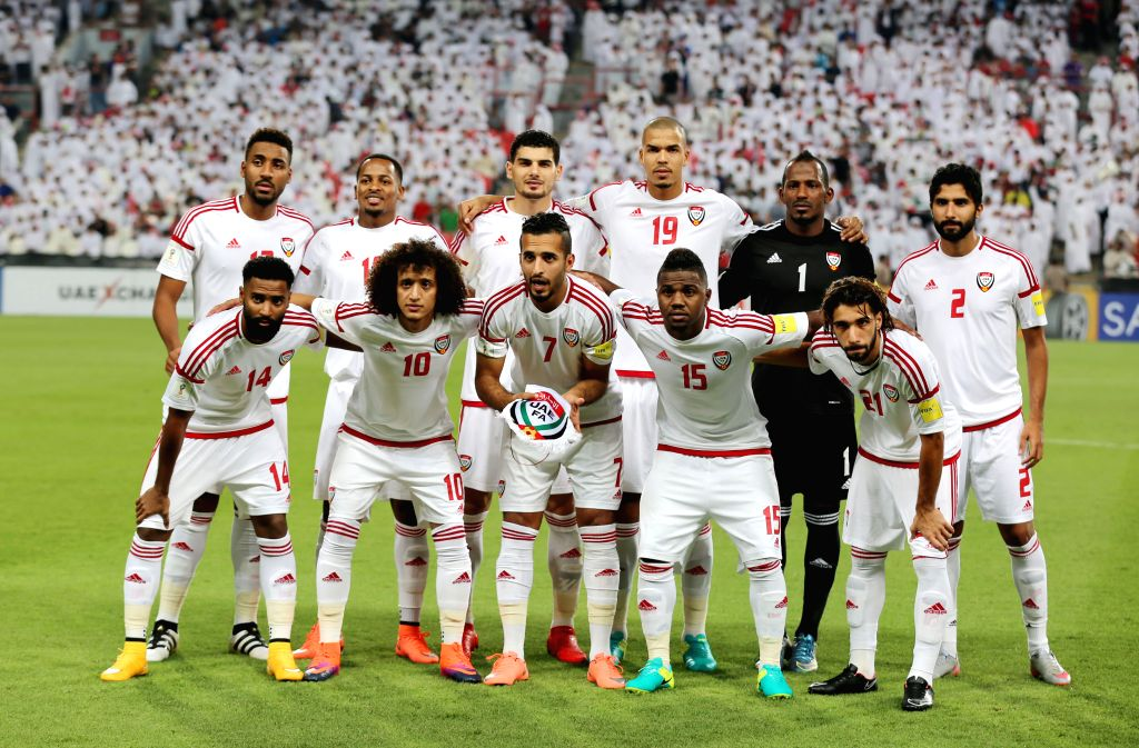 ABU DHABI, Oct. 7, 2016 - UAE's players pose for photo before  the World Cup 2018 football qualification match between United Arab Emirates and Thailand at the Mohammed Bin Zayed Stadium in Abu Dhabi ...