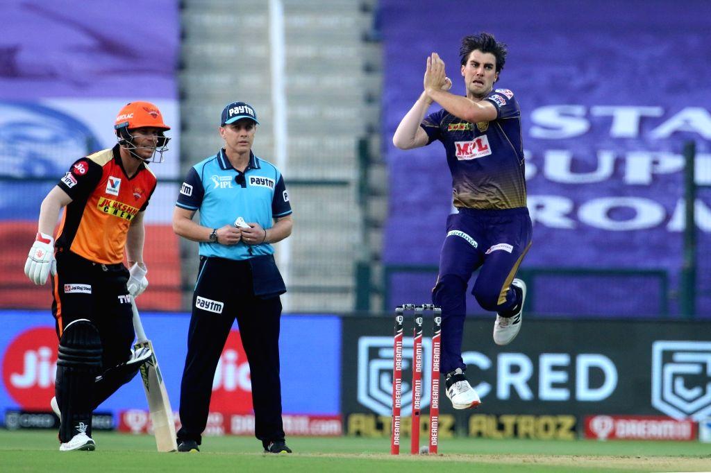 Abu Dhabi: Pat Cummins of Kolkata Knight Riders celebrates the wicket of Jonny Bairstow of Sunrisers Hyderabad during match 8 of season 13 of Indian Premier League (IPL) between the Kolkata Knight ...