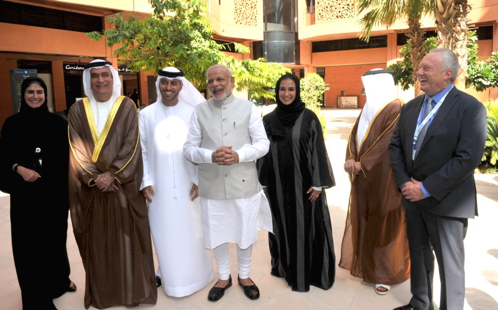 Abu Dhabi: Prime Minister Narendra Modi takes a tour of Masdar City, a hub of clean technology, in Abu Dhabi, UAE on Aug 17, 2015. - Narendra Modi