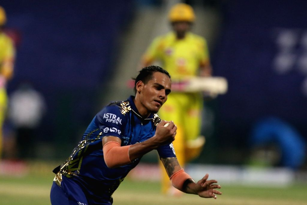 Abu Dhabi: Rahul Chahar of Mumbai Indians take a catch as wicket for Ambati Rayudu of the Chennai Super kings  during match 1 of season 13 of the Dream 11 Indian Premier League (IPL) between the ...