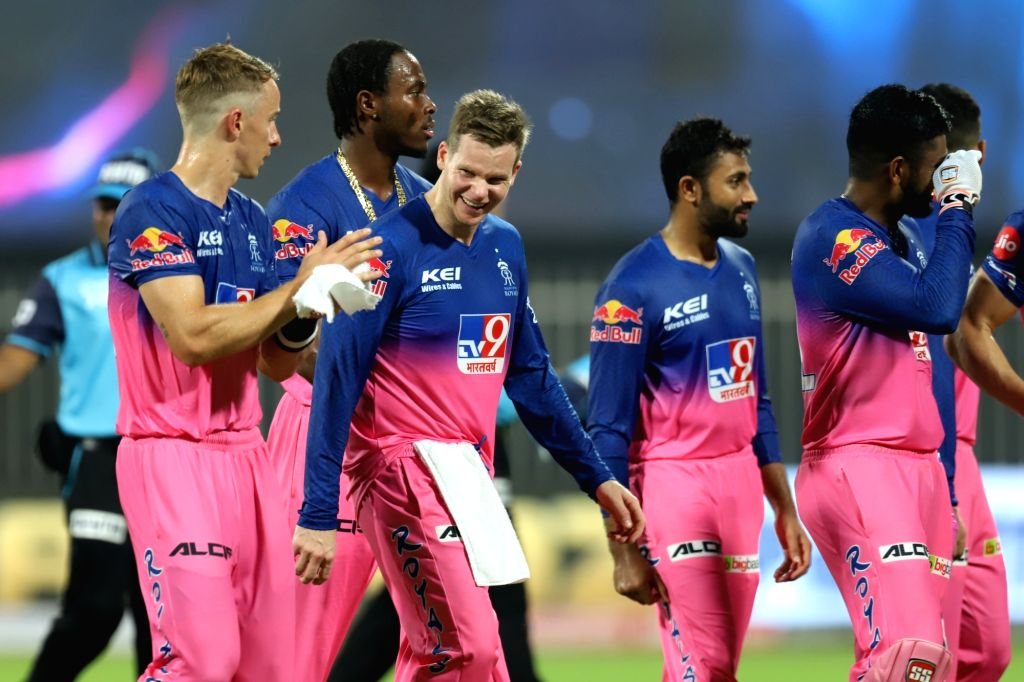 Abu Dhabi: Rajasthan Royals win during match 4 of season 13 of the Dream 11 Indian Premier League (IPL) between Rajasthan Royals and Chennai Super Kings held at the Sharjah Cricket Stadium, Sharjah ...