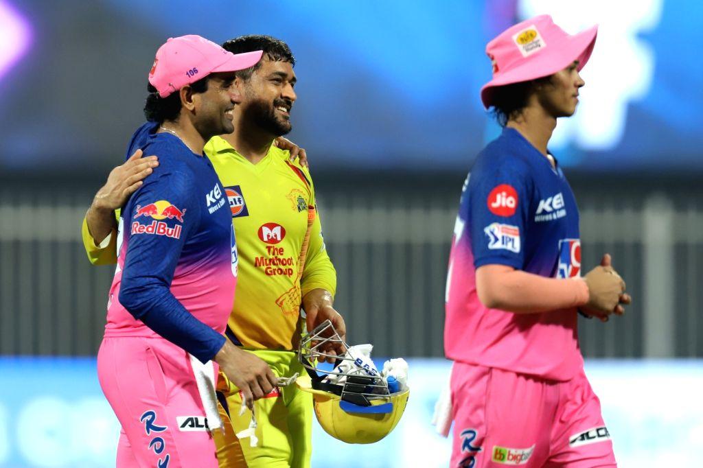 Abu Dhabi: Rajasthan Royals win during match 4 of season 13 of the Dream 11 Indian Premier League (IPL) between Rajasthan Royals and Chennai Super Kings held at the Sharjah Cricket Stadium, Sharjah ...
