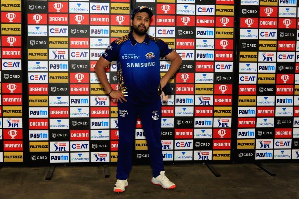 Abu Dhabi: Rohit Sharma captain of Mumbai Indians at presentation ceremony during match 1 of season 13 Dream 11 of Indian Premier League (IPL) held at the Sheikh Zayed Stadium, Abu Dhabi  in the ... - Rohit Sharma