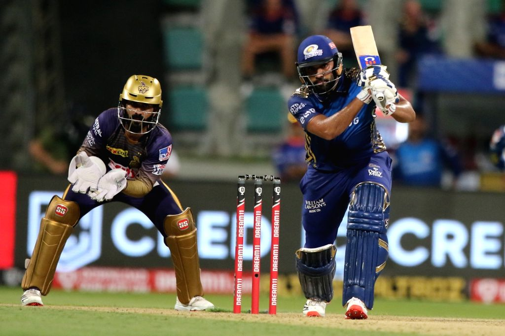 Abu Dhabi: Rohit Sharma captain of Mumbai Indians plays a shot during match 5 of season 13 of Indian Premier League (IPL) between the Kolkata Knight Riders and the Mumbai Indians held at the Sheikh ... - Rohit Sharma