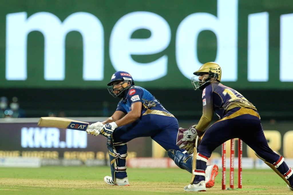 Abu Dhabi: Rohit Sharma captain of Mumbai Indians plays a shot during match 5 of season 13 of the Dream 11 Indian Premier League (IPL) between the Kolkata Knight Riders and the Mumbai Indians held at ... - Rohit Sharma