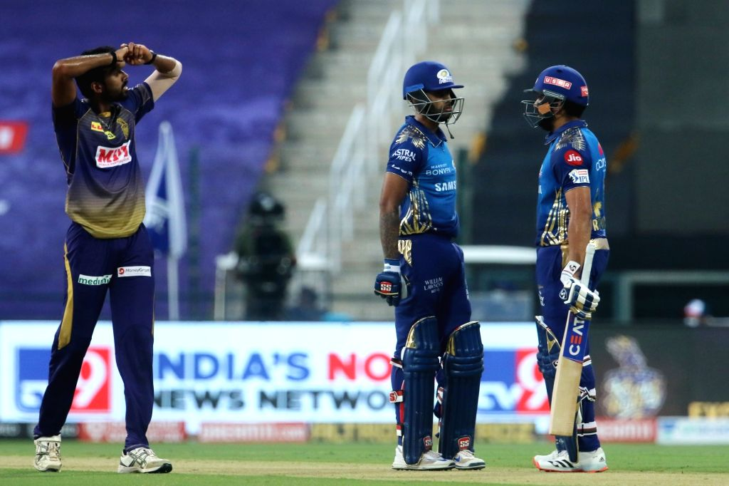 Abu Dhabi: Rohit Sharma captain of Mumbai Indians speaks to team members during match 5 of season 13 of the Dream 11 Indian Premier League (IPL) between the Kolkata Knight Riders and the Mumbai ... - Rohit Sharma