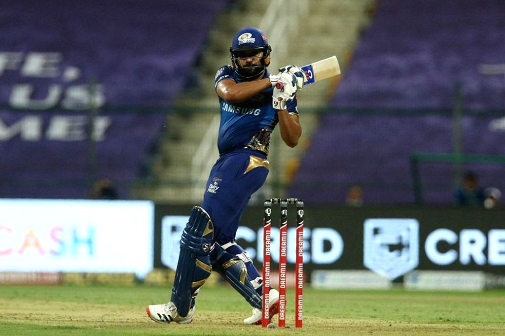 Abu Dhabi: Rohit Sharma captain of Mumbai Indians plays a shot during match 13 of season 13 of the Indian Premier League (IPL) between the Kings XI Punjab and the Mumbai Indians at the Sheikh Zayed ... - Rohit Sharma