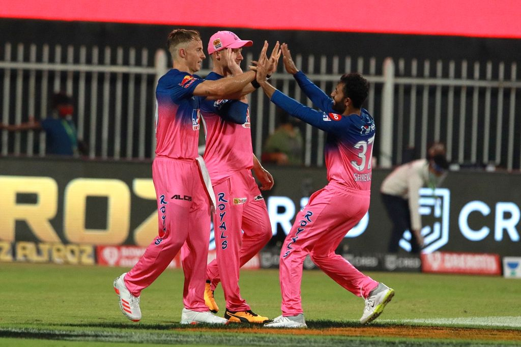 Abu Dhabi: Shreyas Gopal of RR celebrates after takes a wicket of Murali Vijay of CSK during match 4 of season 13 of the Indian Premier League (IPL) between Rajasthan Royals and Chennai Super Kings ...