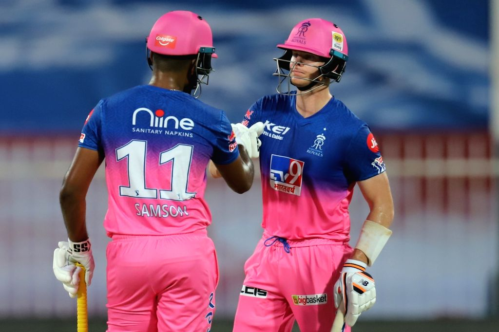 Abu Dhabi: Steve Smith captain of Rajasthan Royals and Sanju Samson of Rajasthan Royals during match 4 of season 13 of the Dream 11 Indian Premier League (IPL) between Rajasthan Royals and Chennai Super Kings held at the Sharjah Cricket Stadium, Shar