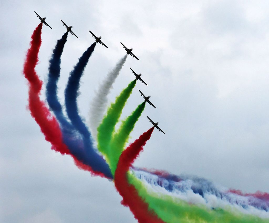 """Abu Dhabi: The UAE Aerobatic Display Team """"Knights"""" perform during a military show to celebrate the 43rd anniversary of the founding of the United Arab Emirates (UAE) in Abu Dhabi, capital ."""