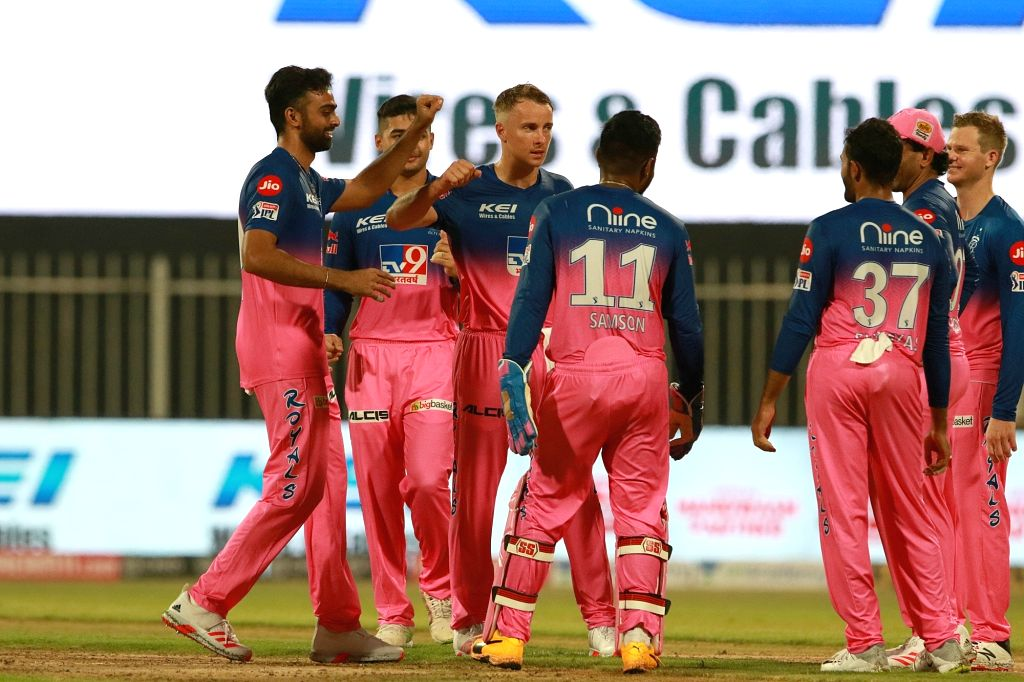 Abu Dhabi: Tom Curran of RR takes a wicket of Kedar Jadhav of CSK during match 4 of season 13 of the Indian Premier League (IPL) between Rajasthan Royals and Chennai Super Kings held at the Sharjah ...