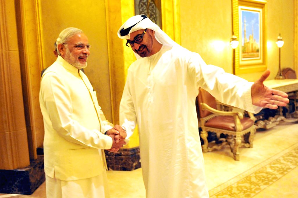 Abu Dhabi (UAE): Prime Minister Narendra Modi with the Crown Prince of Abu Dhabi, His Highness Sheikh Mohammed bin Zayed Al Nahyan during a one to one meeting, in Abu Dhabi, UAE on Aug 17, 2015. - Narendra Modi and Highness Sheikh Mohammed