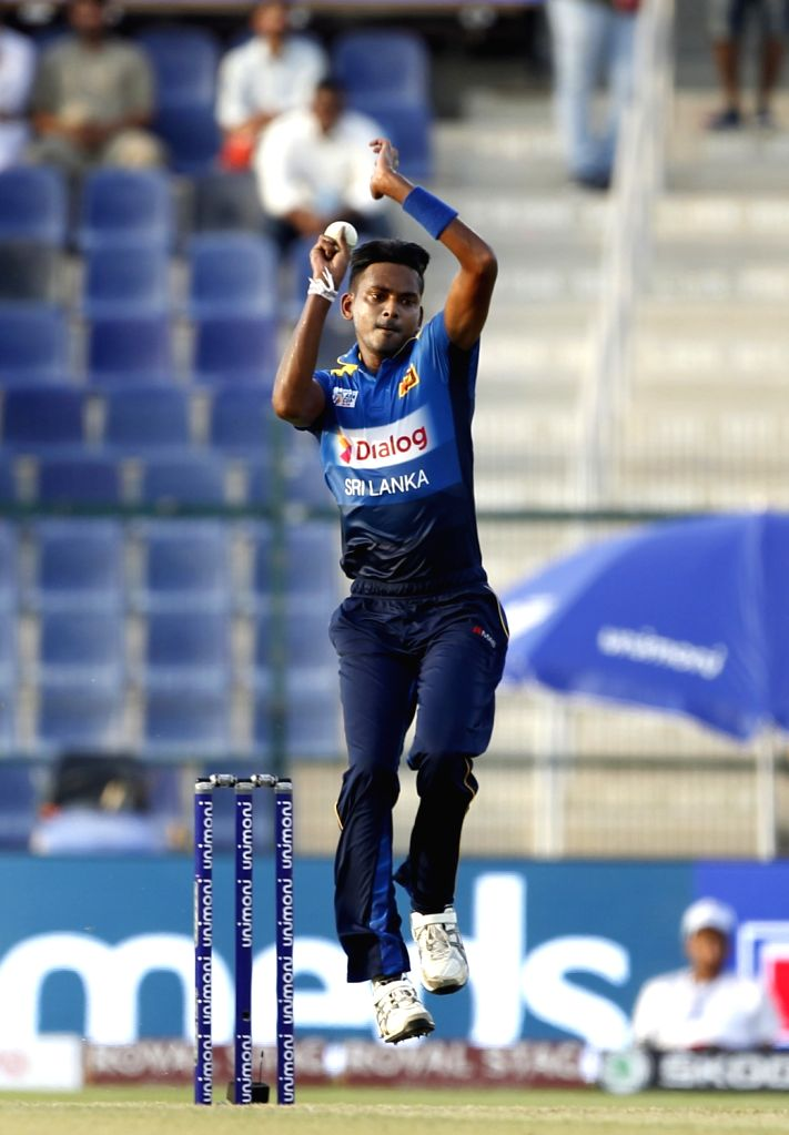 Abu Dhabi (UAE): Sri Lanka's Dushmantha Chameera in action during the third match (Group B) of Asia Cup 2018 between Sri Lanka and Afghanistan at Sheikh Zayed Stadium, in Abu Dhabi on Sept 17, 2018.