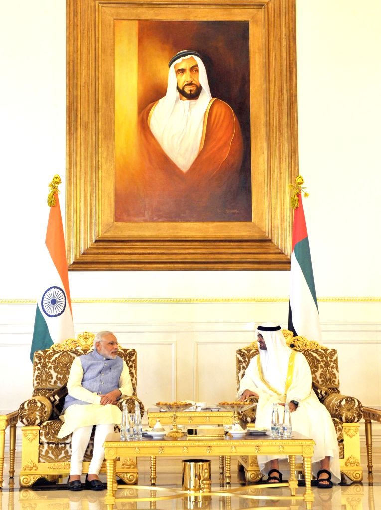 Abu Dhabi (United Arab Emirates): Prime Minister Narendra Modi during a meeting with the Crown Prince of Abu Dhabi, His Highness Sheikh Mohammed bin Zayed Al Nahyan, at Abu Dhabi, in United Arab ... - Narendra Modi and Highness Sheikh Mohammed