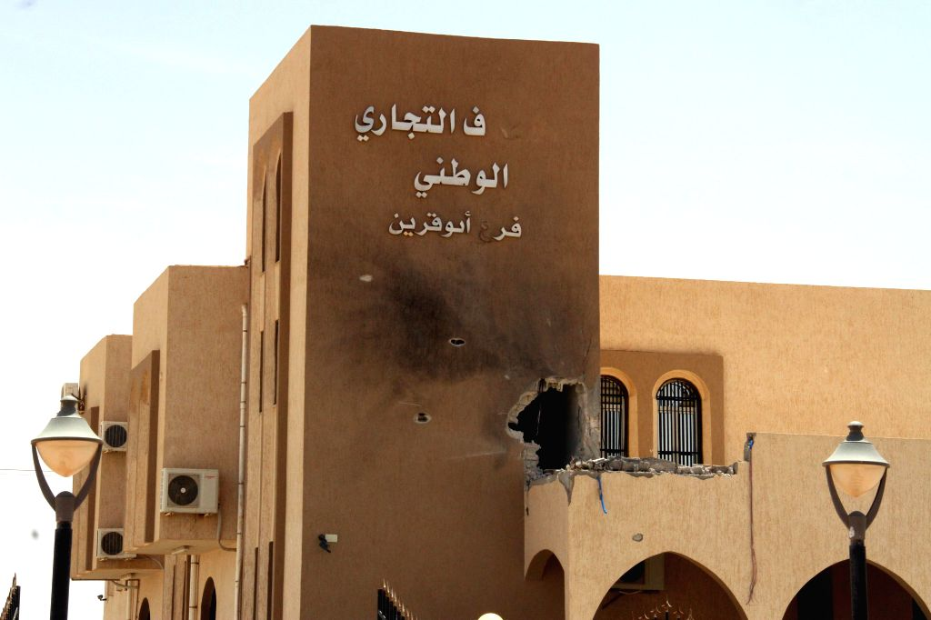 ABU QURAYN, May 19, 2016 - A damaged building is pictured in Abu Qurayn, about 300 kilometers east of the capital Tripoli, May 18, 2016. Libyan army has recaptured the area from the Islamic State ...