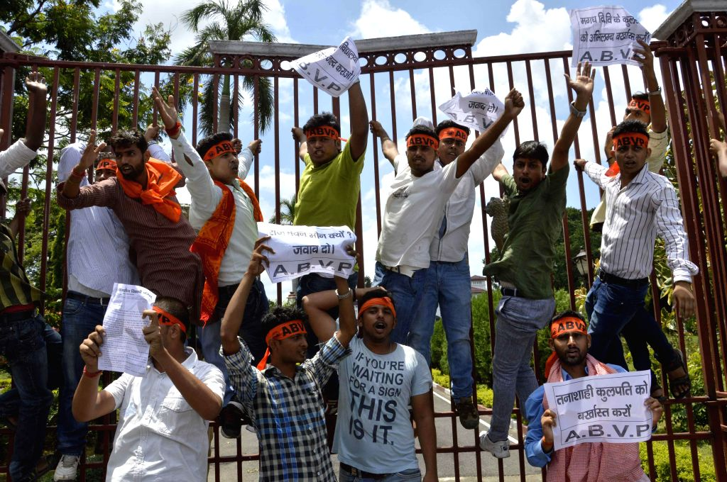 ABVP activists demonstrate in front of Raj Bhawan in Patna on July 30, 2014.