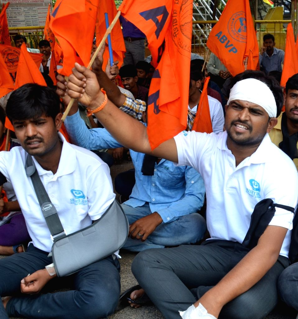 ABVP activists stage a demonstration against Amnesty International India in Bengaluru on Aug 20, 2016.