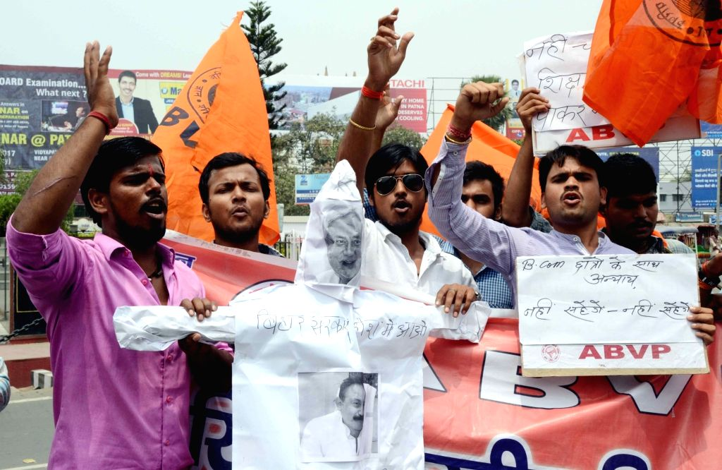 ABVP activists stage a demonstration against Bihar Chief Minister Nitish Kumar and Education Minister Ashok Choudhary to press for their demands in Patna on April 21, 2017. - Nitish Kumar and Ashok Choudhary