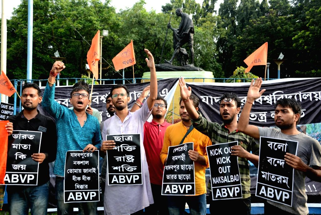 ABVP activists stage a demonstration against assault on Union Minister Babul Suriyo by radical Left students in Jadavpur University for hours, in Kolkata on Sep 20, 2019. - Babul Suriyo