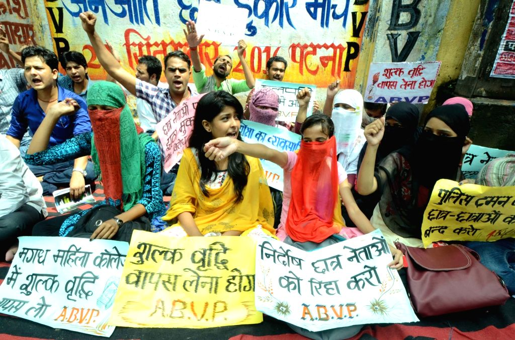 ABVP activists stage a demonstration against hike in Patna University fees on Sept 12, 2016.
