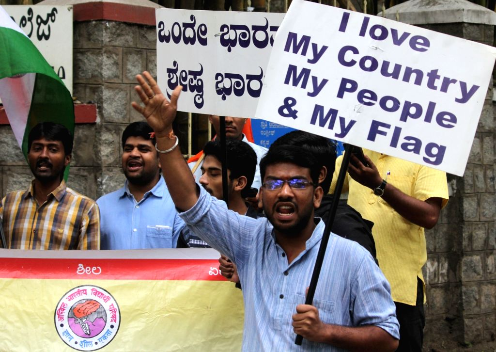 ABVP activists stage a demonstration outside the United Theological College to protest against an event organised by Amnesty International India to draw attention to alleged human ...