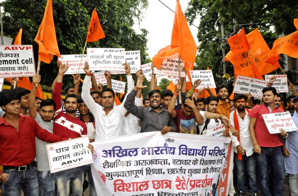 ABVP activists stage a demonstration to press for their various demands in Patna on July 25, 2017.