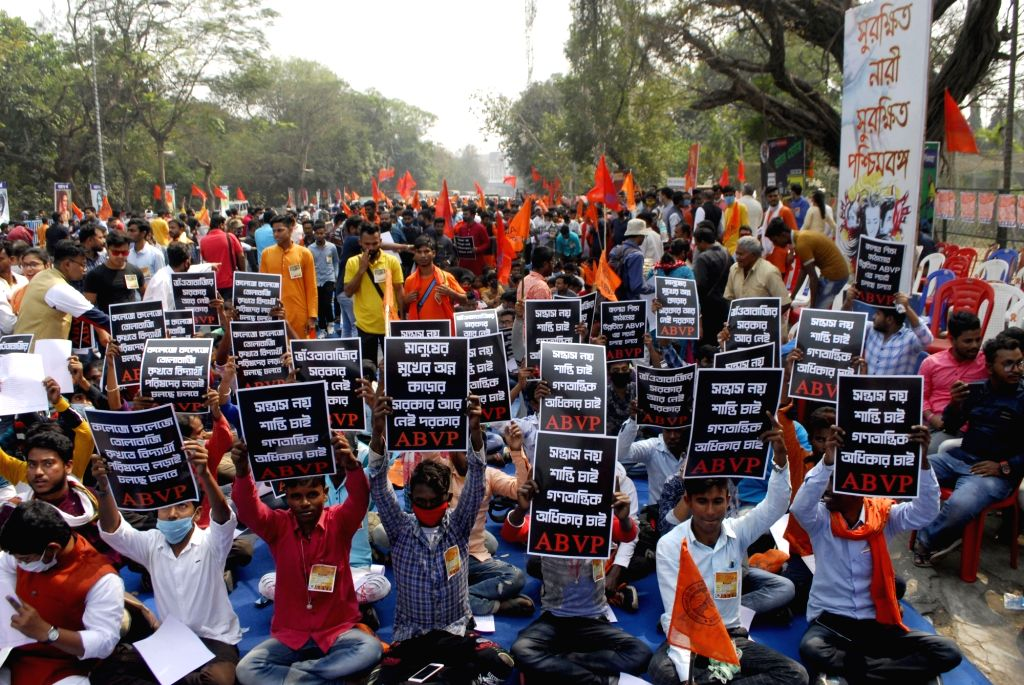 ABVP activists took part in a protest against the State Government in Kolkata on Monday 22nd February 2021.