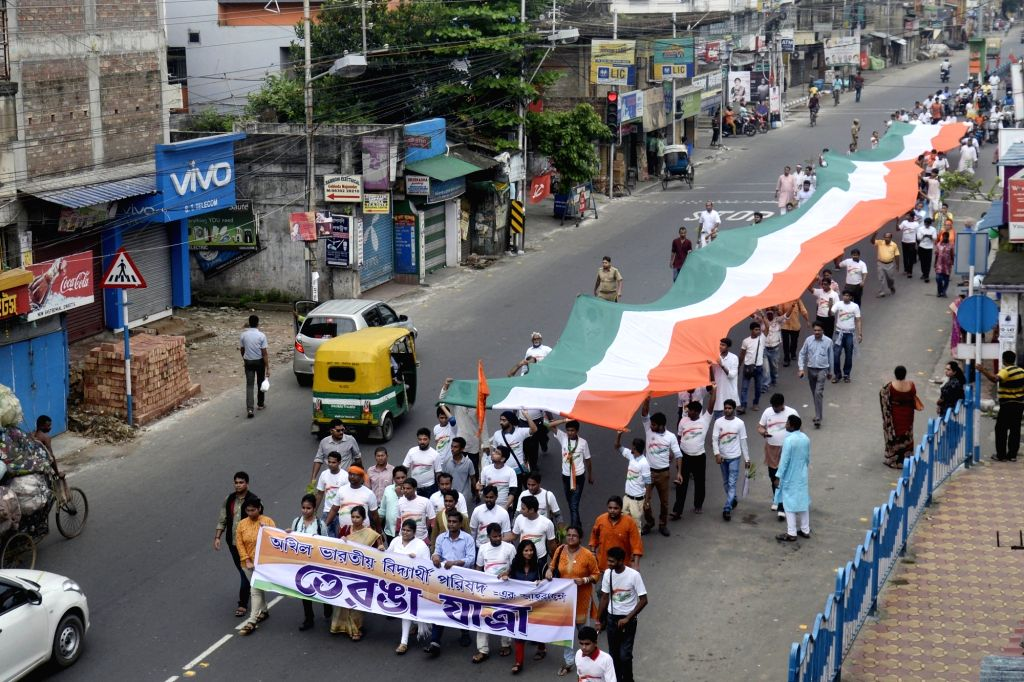 ABVP activists with 360 ft national flag take out a rally on Independence Day in Kolkata on Aug 15, 2017.
