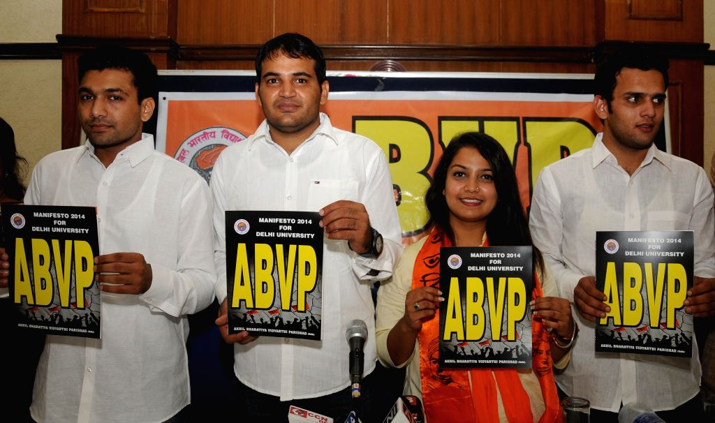 ABVP candidates release manifesto for DUSU 2014-2015 during a press conference in New Delhi on Sept 9, 2014.